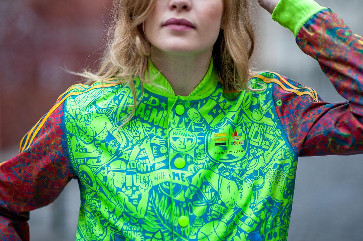 ckeja veste fluo adidas custom girl face